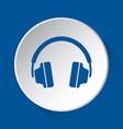 headphones - simple blue icon on white button vector image vector image