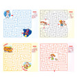 help the character to find a way out of the maze vector image vector image