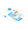 isometric phone with gradients and finances vector image vector image