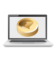 Laptop and golden coin vector image vector image