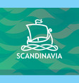 logo of scandinavian drakkar in white lineart vector image vector image