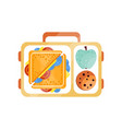 lunch bag with sandwich chocolate cookie and vector image vector image