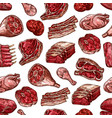Meat beef pork and chicken cuts seamless pattern