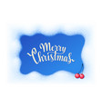 merry christmas lettering with snow farme and red vector image