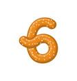 number 6 pretzel snack font six symbol food vector image vector image