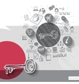 Paper and hand drawn key emblem with icons vector image vector image