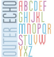 Poster echo light striped font bright condensed vector image vector image