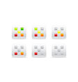 rating with five different color squares vector image vector image
