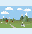 rural landscape with cows and farm background of vector image vector image