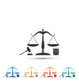 scales of justice gavel and book icon isolated vector image