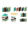 set books flat design style vector image