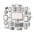 Set of digital office devices Sketch for your vector image vector image