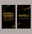 set vertical marble banners with golden cracks vector image
