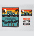 surf graphics poster and logo happy surfer sign vector image vector image