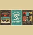 surfing club vacation leisure retro poster vector image