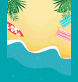 tropical beach card with sand and sea vector image