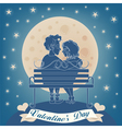 Valentines Day Card - Happy Couple on the Bench vector image vector image