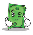 wink face dollar character cartoon style vector image vector image
