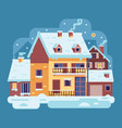 winter country house with chimney vector image vector image
