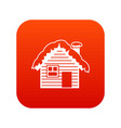 wooden house covered with snow icon digital red vector image vector image