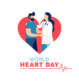 world heart day card of doctor and patient vector image