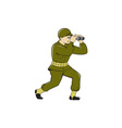 World War Two American Soldier Binoculars Cartoon vector image vector image
