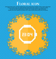 wristwatch icon Floral flat design on a blue vector image vector image