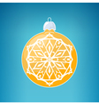 Yellow Ball with Snowflake Merry Christmas vector image