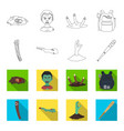 zombies and attributes outlineflat icons in set vector image