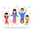 cartoon happy family falling on top money vector image