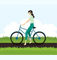 active young woman riding on bicycle vector image vector image