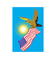 American Bald Eagle Carry Flag Retro vector image vector image