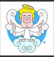 angel on cloud with halo on head on white vector image