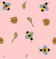 bee and honey seamless pink patter vector image vector image