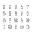 beer glass mug simple black line icons set vector image