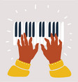 black musicians hands playing on piano keys vector image vector image