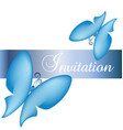 blue butterfly card invitation vector image