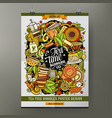 cartoon hand drawn doodles tea poster vector image vector image