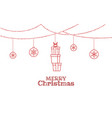 christmas ornaments hanging with stack gift box vector image