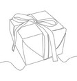 continuous line drawing of gift box vector image