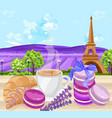 cup of coffee with croissants and macaroons french vector image vector image