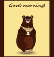 cute cartoon bear in slippers and necktie holding vector image vector image