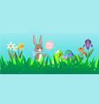 easter rabbit background with cute bunnies baby vector image vector image