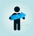figure man holds blue arrow vector image vector image