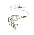 fisherman in a boat and big mouth bass vector image vector image