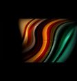 fluid wavy multicolored lines on black vector image vector image