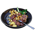 frying pan with fried potatoes and meat vector image
