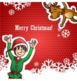 Funny Cute Reindeer and Dwarf Christmas Red vector image