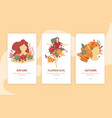 girls autumn beauty landing compositions vector image vector image