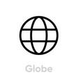 globe flat icon editable stroke vector image